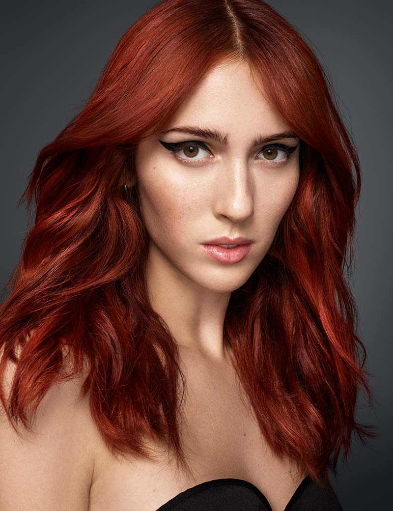 Cherry Red Balayage Lacquered Finish Redken