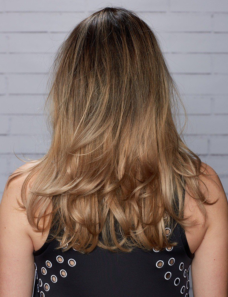 dark blonde, ombre balayage haircolor
