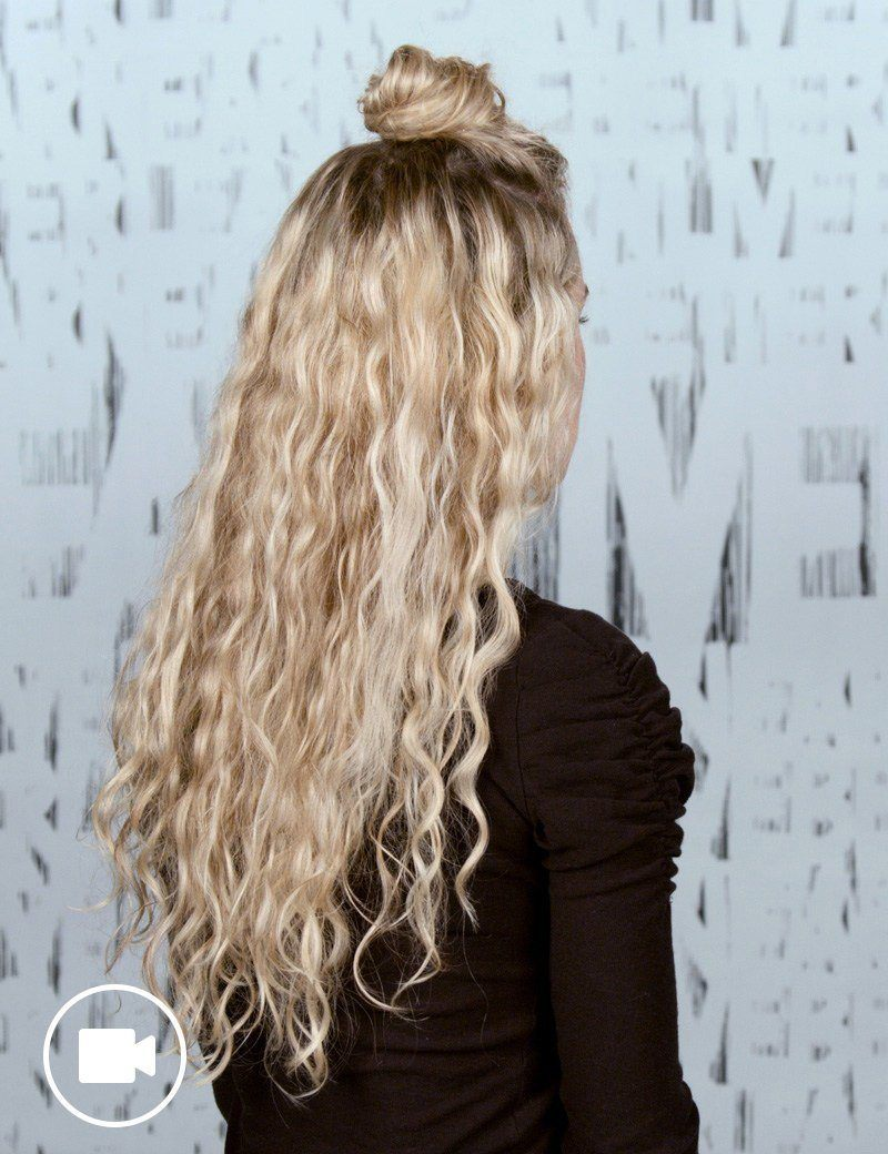 Curly Hair Half Top Knot Hair Style For Women Redken