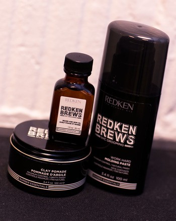 Redken Brews Beard and Skin Oil with Work Hard Molding Paste and Clay Pomade.