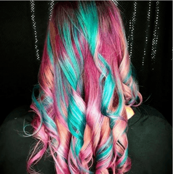 Rainbow Haircolor resembles cotton candy