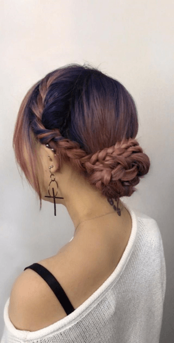 Use smaller cross braids to liven up your typical bun.