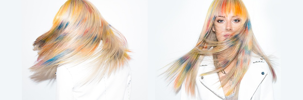 Unexpected pieces of rainbow hair help Chloe's look standout from the crowd.