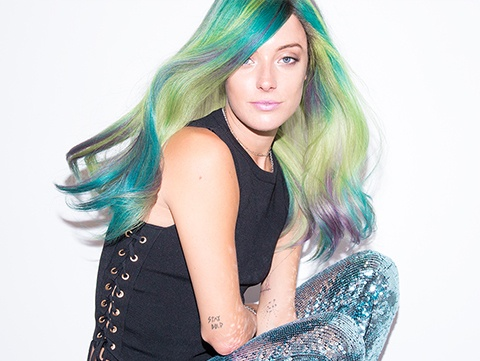 Redken Muse, Chloe Norgaard sports on-trend mermaid hair and makeup.