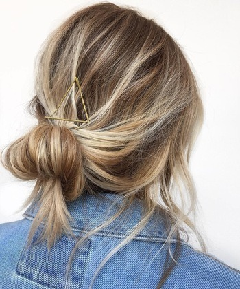 Triangle bobbi pins hairstyle with Redken Triple Take 32 for extra hold.