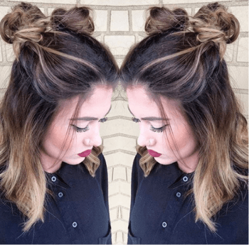 Hairstyle with two high messy buns