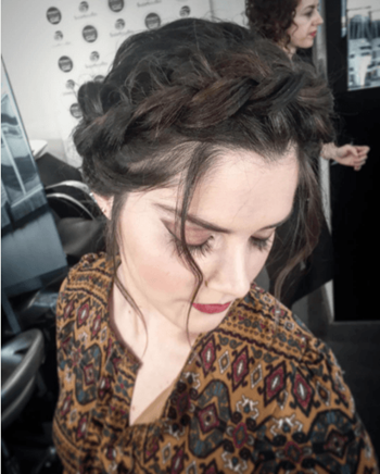 Bohemian crown braid hairstyle for the holidays.