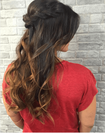 Elegant half-up hairstyle for the holidays