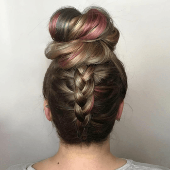 An inverted french braid is a fun twist on a traditional ballerina bun.