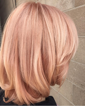 Rose gold hair color inspired by Pantone Spring 2017 Fashion collection