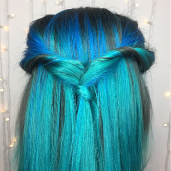 Vivid blue hair is a must try hair color for the new year.