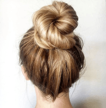 Blonde model with messy bun