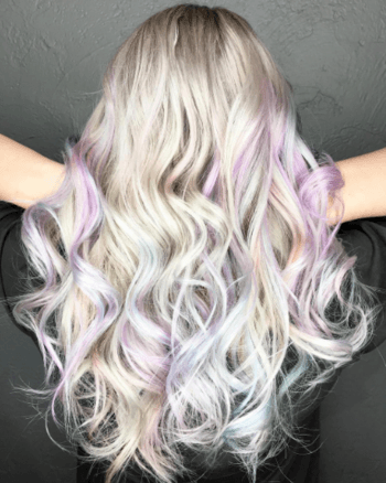 Also known as opal hair, this holographic hair color is sure to be a popular trend this summer.