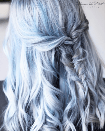 Bring out your inner unicorn with this gorgeous light blue hair.