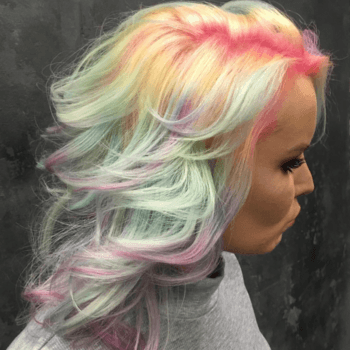 This beautiful pastel rainbow hair color is perfect for Spring.