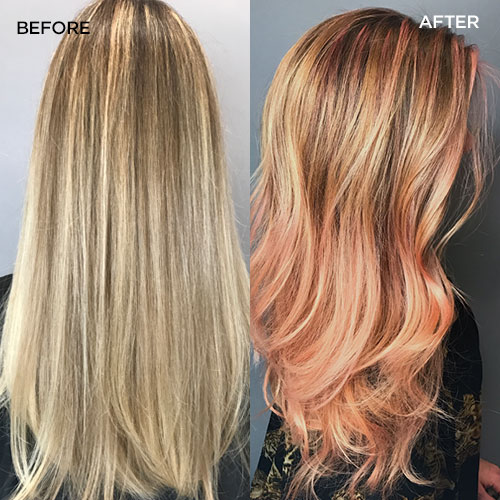 model went from blonde hair to rose gold hair