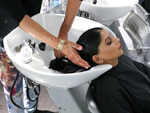 Blogger Arshia Moorjani gets a Redken Shades EQ treatment at Cutler Salon.