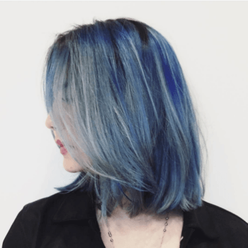Denim blue hair color created by Redken Artist, Veronica Ridge