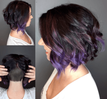 Violet balayage hair color created by Redken Artist, Sarah Mann-Harris.