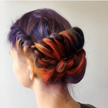 Colorful rainbow hair color created by Redken Artist, Adam Browne.