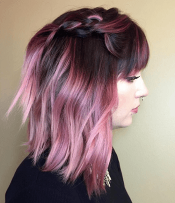 Experiment with lip colors when rocking pink pastel hair.