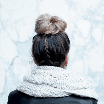 Make your everyday topknot a bit more edgy with an unexpected braid.
