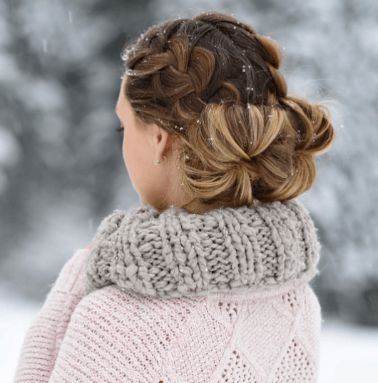 Take your winter hairstyle to the next level by adding French braided messy buns to your style