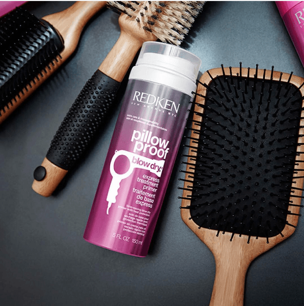 Sam Villa hairbrushes and Redken Pillow Proof Express Treatment Primer are a dynamic duo for your hair.